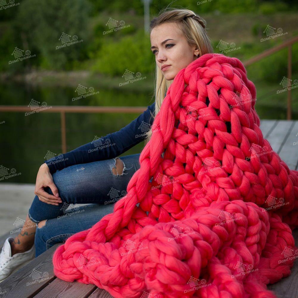 Вязание пледа без спиц из толстой пряжи